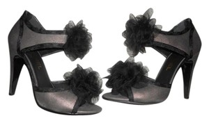 Chanel Shimmer Tulle Camellia Open Toe Sueded Grey/Black Sandals