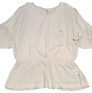 New York & Company Cold Elbow Sleeves Gathered Waist Top White