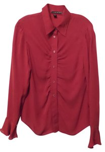 Ellen Tracy Silk Shirring Professional Red Top Deep red