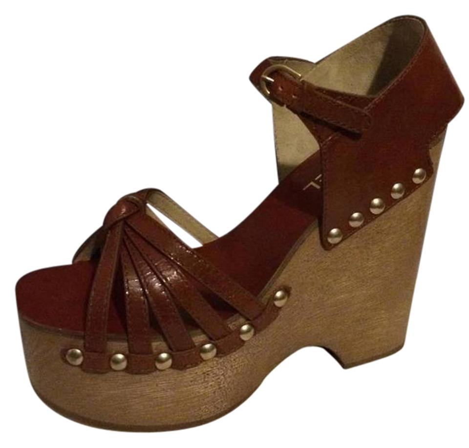 79e7b3540f08 Chanel Brown 14a Leather Wood Wedge Heel Studded Sandals Clogs Platforms.  Size  EU ...