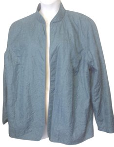 Alfred Dunner Fly Open Quilted Ornate 20w 1x Blue Jacket