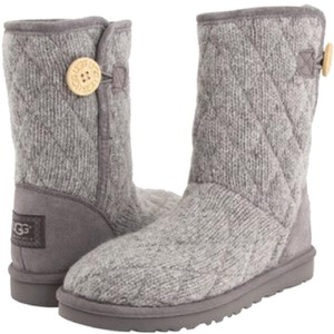 UGG Australia Sweater Knit Button Quilted Grey Boots