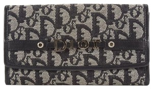 Dior Black Gray Monogram Canvas Trifold Continental Wallet