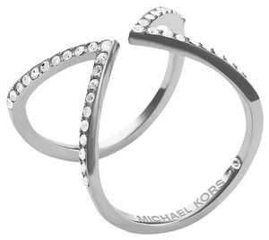Michael Kors size 9 NWT Collection Open Arrow Ring SILVER -TONE MKJ37510409