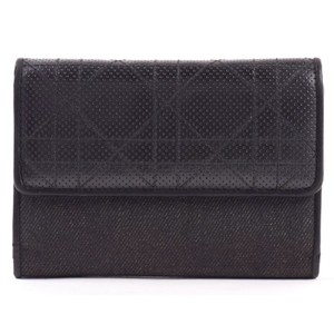 Dior Black Denim Leather Panel Trifold Wallet