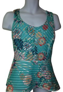 New York & Company Top teal with flowers