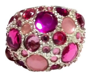 Other New Silver Tone Pink Crystal Statement Ring Size 6 Chunky J3207
