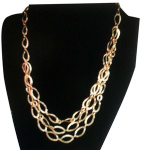 Other Sterling Silver, Gold plated 3 Row Hammered Necklace