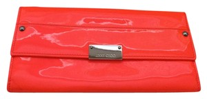 Jimmy Choo Patent Leather Spring Summer Silver Hardware Neon Flame (Orange) Clutch