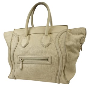 Céline Pebbled Leather Beige Mini Luggage Tote 216133