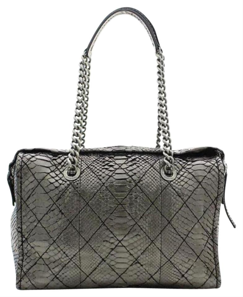 fccf3dfb6930 Chanel Classic Flap Python Camera Cc Snake Skin Metallic Silver Travel Bag  Image 0 ...