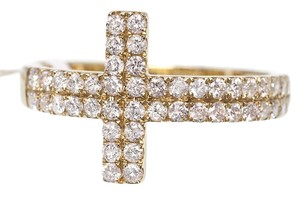 Other 10k Yellow Gold Ladies Sideways Cross 2 Row Genuine Diamond Ring