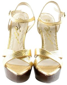 Alice + Olivia Strappy Slingback Wedge Gold Sandals
