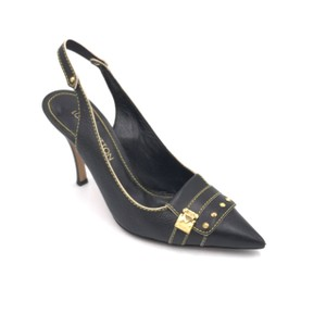Louis Vuitton Hardware Italian Paris Black and Gold Pumps