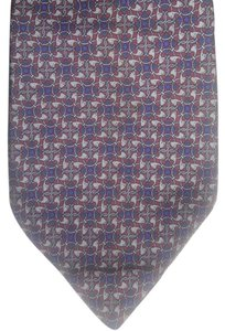 Dior Christian Dior 100% Silk Tie Grey Navy Red Pattern