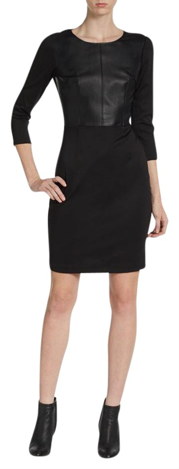 Saks fifth avenue black ponte knit faux leather combo sheath short saks fifth avenue 34 sleeve faux leather sheath ponte knit dress publicscrutiny Images