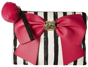 Betsey Johnson Satchel Bow Red Black Fuschia Clutch