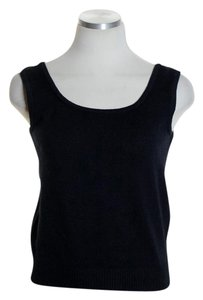 St. John Knit Sleeveless Stretchy Wool Blend Top Black