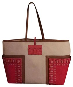 Tory Burch Tote in tan, brown and coral