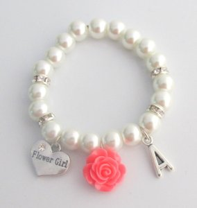 Fashion Jewelry For Everyone White Flower Bracelet Personalized Flower Girl Bracelet Child's Pearl Other