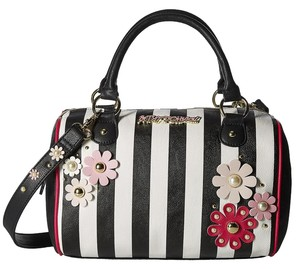 Betsey Johnson Flower Stripe Barrel Satchel in Multicolor