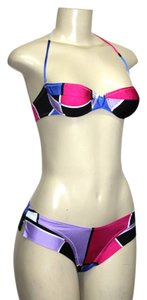 Le FOGLIE Le FOGLIE Two Piece Swimsuit Set Multi-Coor Plaids Underwire MEDIUM Halter/Strapless Top