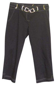 Cache Equestrian Buckle Capris Dark brown and gold