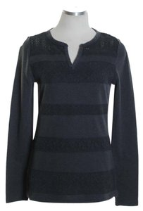 Lucky Brand Knit Waffle Long Sleeve Top Gray