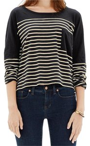 Madewell Tee Striped Cropped Drop Sleeves Black And Beige T Shirt Black/Beige