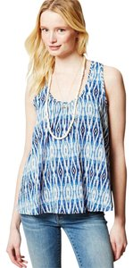Anthropologie Sleeveless Print Top Blue