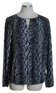 Michael Kors Knit Print Long Sleeve Keyhole Top Gray