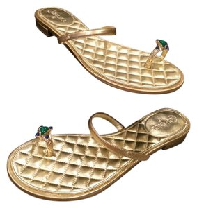 Chanel Jewel Toe Ring Strappy Mules Gold Sandals