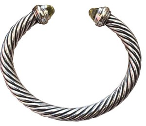 David Yurman David Yurman Cable Classic Bracelet with Prasiolite and 14kt Gold, 7mm