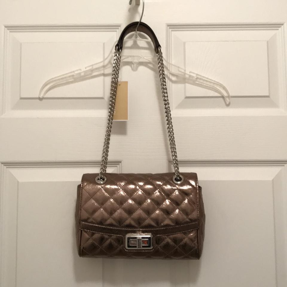 Michael Kors New Hannah Quilted Silver Gray Leather Shoulder Bag ... : michael kors quilted bag - Adamdwight.com