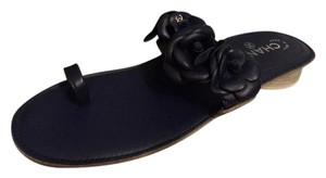 Chanel Toe Ring Camellia Flat Navy Blue Sandals