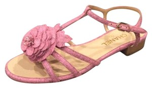 Chanel Camellia Thong Flat Felt Fabric Pink Sandals