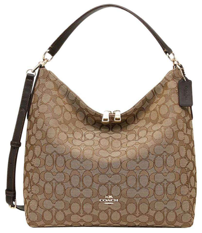 f045646672943 Coach F58327 Outline Celeste Convertible Hobo In Signature Khaki Saddle  Canvas Cross Body Bag