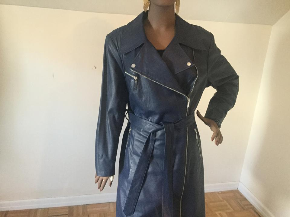 330a4eb6d5d28 G.I.L.I. Navy Blue Gili Leather Motorcycle Deep Twilight Coat Size 22 (Plus  2x) - Tradesy