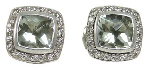 David Yurman David Yurman Sterling Silver .40tcw 7mm Prasiolite Diamond Earrings