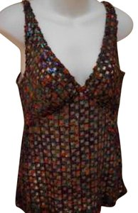 Anna Sui Tank Open Weave Plastic Sequins V-neck Sleeveless Top