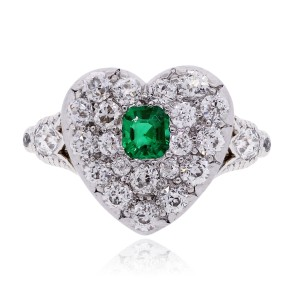 Tiffany & Co. Tiffany & Co. Platinum and 18k Gold Diamond, Emerald Heart Ring