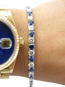 Other Fine PLAT Gem Sapphire Diamond Tennis Bracelet 10.63CT
