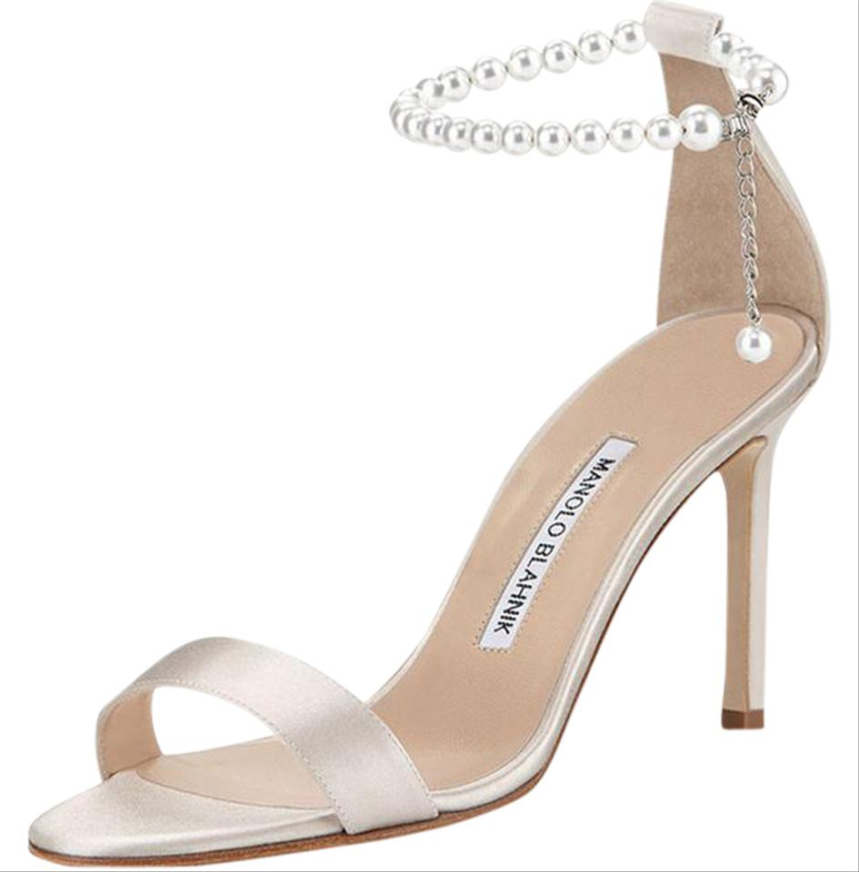 Manolo Blahnik Chaos Pearly Ankle Wrap Sandal Champagne Formal Shoes On Tradesy
