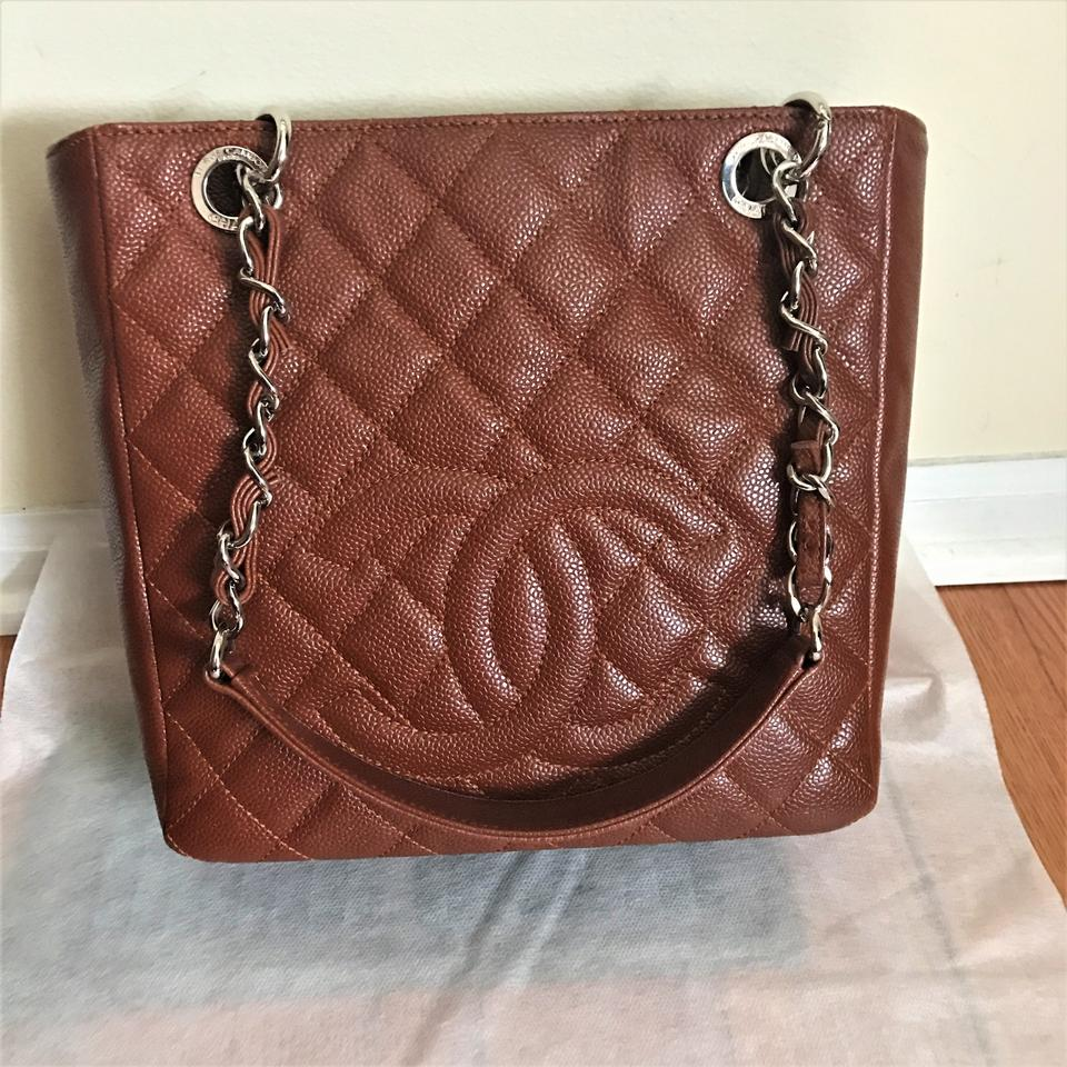 31a4eeb3b47613 Chanel Shopping Tote Rusty Brown Pst Petite Black Caviar Leather ...