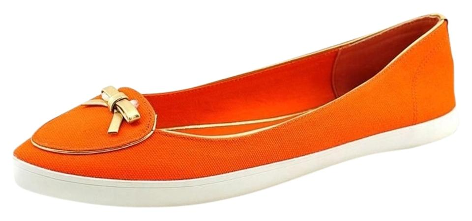 65a8d0b5a612d Tory Burch Dakota Canvas Casual Loafers Bow Gold Coral Summer Sneakers  Tennis Slip Ons Orange Flats ...