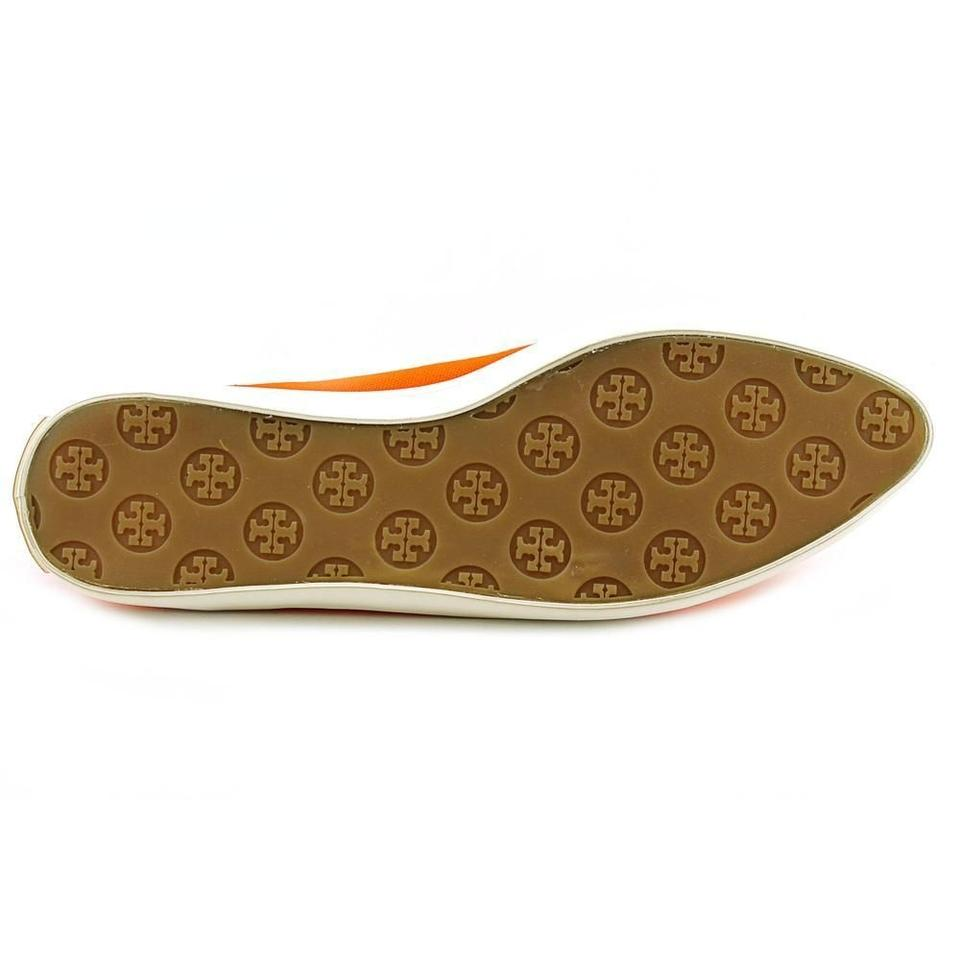 cf7d8a6121407 Tory Burch Dakota Canvas Casual Loafers Bow Gold Coral Summer Sneakers  Tennis Slip Ons Orange Flats. 1234567
