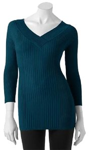 It's Our Time Ribbed Blue Green V-neck Stretchy Sweater