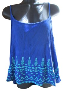 Mossimo Supply Co. Embroidered Aztec Spring Summer Racerback Top Blue
