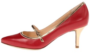 Cole Haan Buckle Red Gold Velvet red/gold Pumps