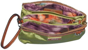 Tumi Clutch Wristlet in Green with Brown trim